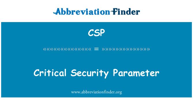 CSP: Critical Security Parameter