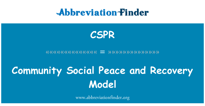 CSPR: Community Social Peace and Recovery Model