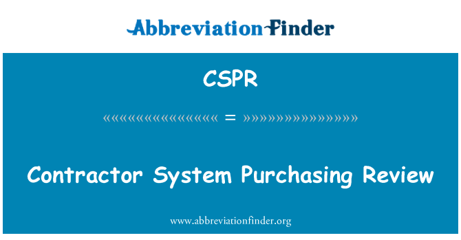 CSPR: Contractor System Purchasing Review