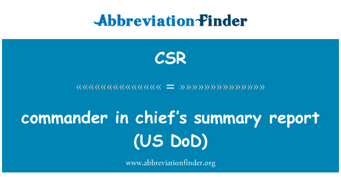 CSR: commander in chief's   summary report (US DoD)