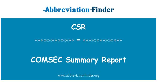 CSR: COMSEC Summary Report