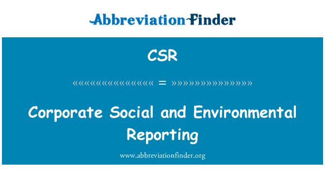 CSR: Corporate Social and Environmental Reporting