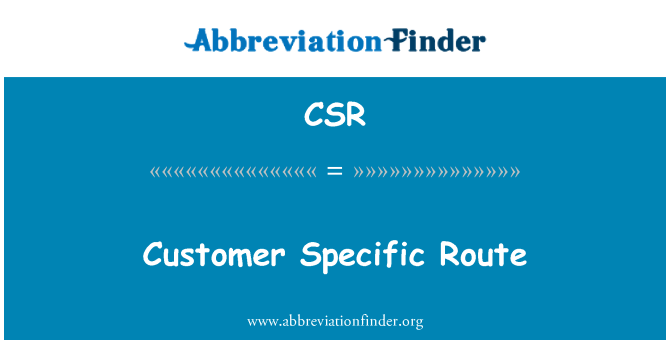 CSR: Customer Specific Route