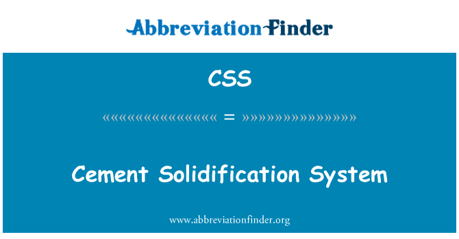 CSS: Cement Solidification System