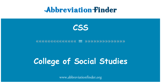 CSS: College of Social Studies