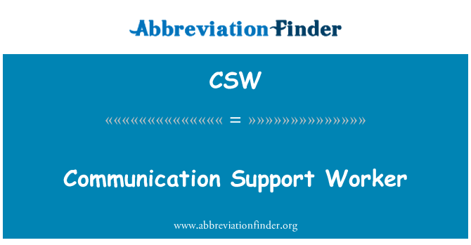 CSW: Communication Support Worker