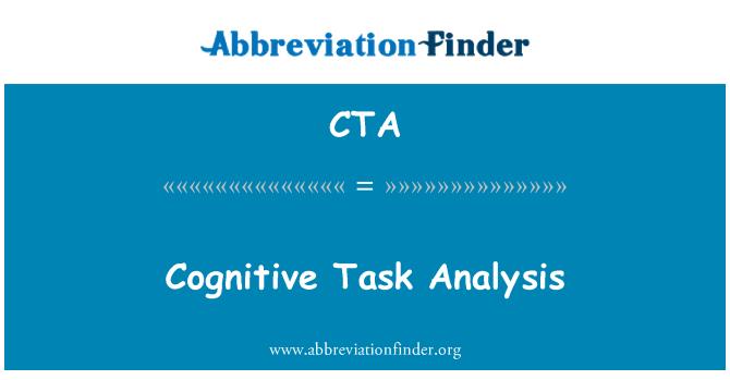 CTA: Cognitive Task Analysis