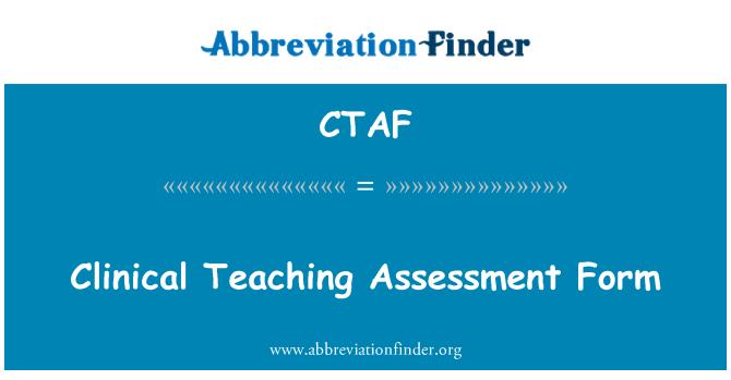 CTAF: Kliinilise õppetöö hindamise vorm