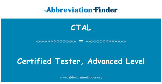 CTAL: Sertifikalı Tester, ileri düzey