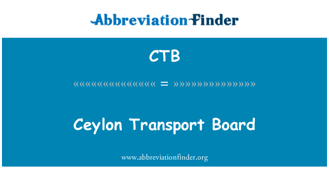 CTB: Ceylon Transport Board