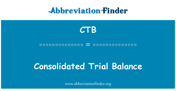 CTB: Consolidated Trial Balance