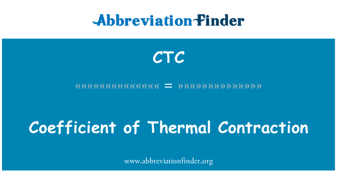 CTC: Coefficient of Thermal Contraction