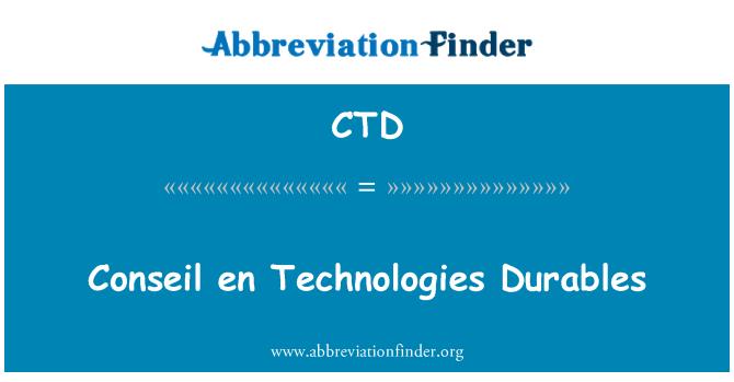 CTD: Conseil en Technologies Durables