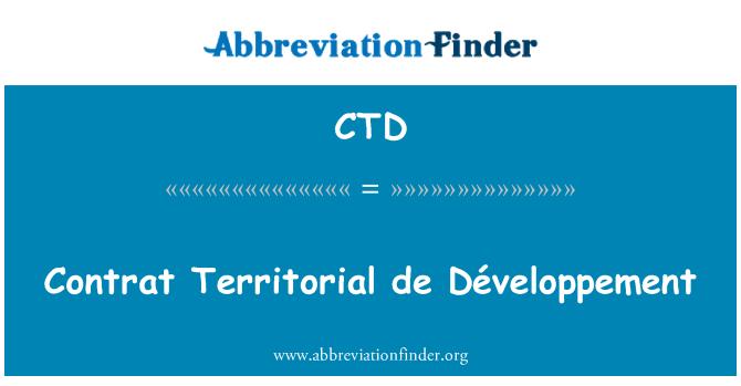 CTD: Contrat Territorial de Développement