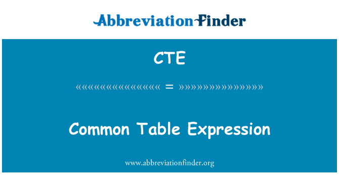 CTE: Common Table Expression