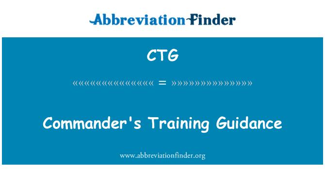 CTG: Commander's Training Guidance