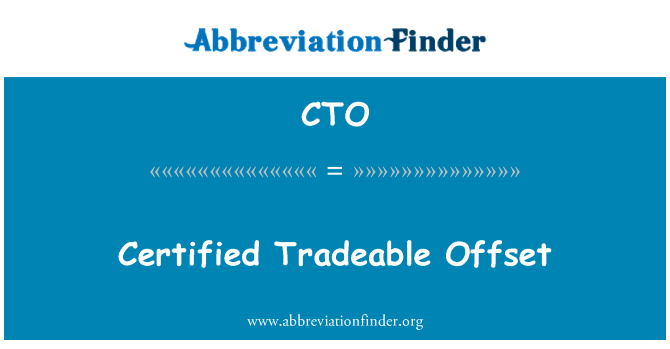 CTO: Certified Tradeable Offset