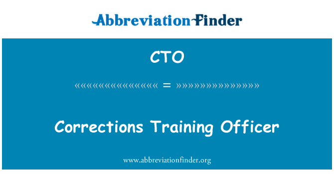CTO: Corrections Training Officer