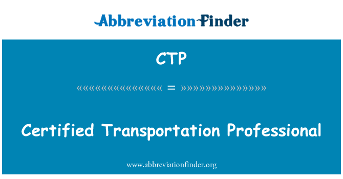 CTP: Certified Transportation Professional