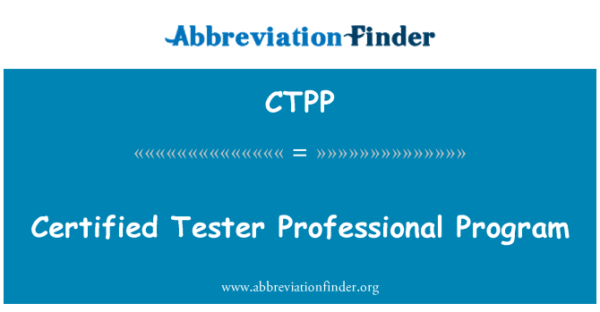 CTPP: Certifikovaný Tester profesionální Program