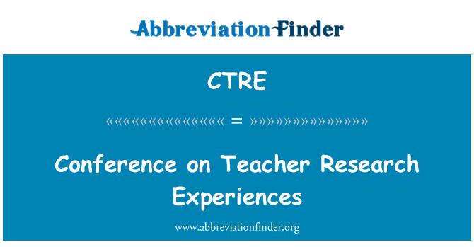CTRE: Konferenca o učitelj raziskovalnih izkušenj
