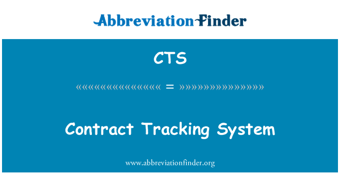 CTS: Contract Tracking System