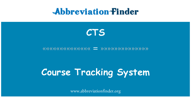 CTS: Course Tracking System