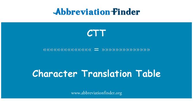 CTT: Character Translation Table