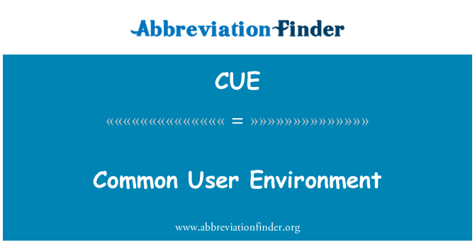 CUE: Common User Environment
