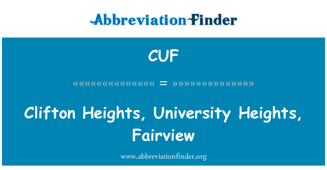 CUF: Clifton Heights, University Heights, Fairview
