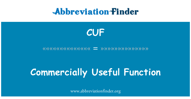 CUF: Commercially Useful Function