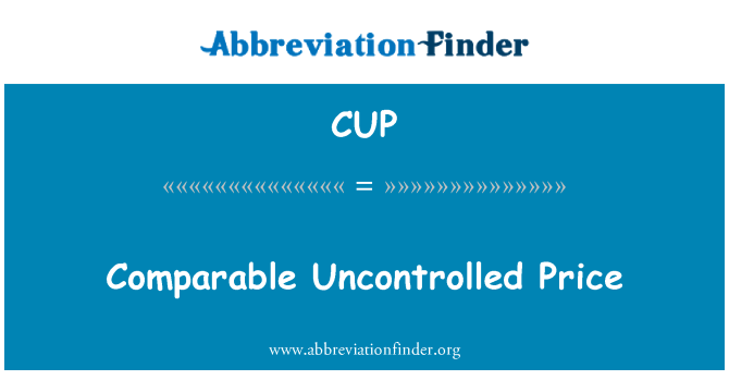 CUP: Comparable Uncontrolled Price