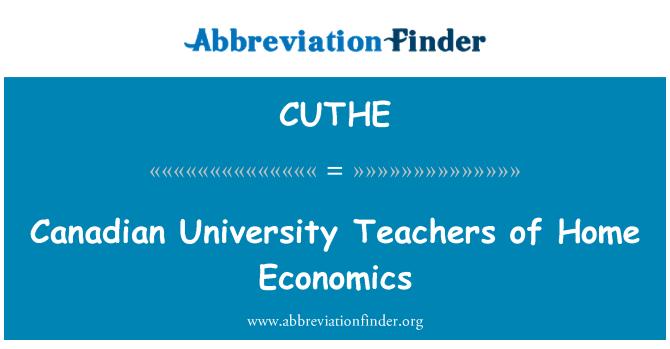 CUTHE: Canadian University Teachers of Home Economics