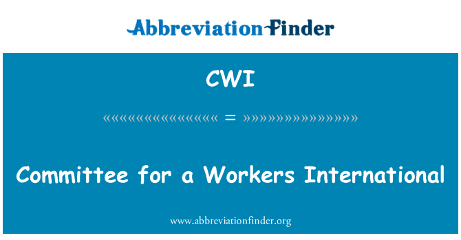 CWI: Committee for a Workers International