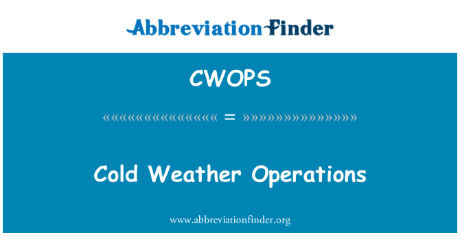 CWOPS: Cold Weather Operations