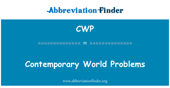 CWP: Contemporary World Problems