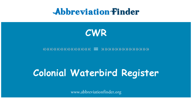 CWR: Colonial Waterbird Register