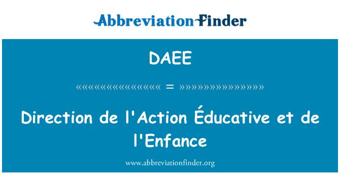 DAEE: Direction de l'Action Éducative et de l'Enfance