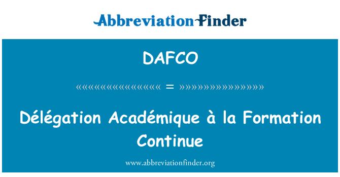DAFCO: Délégation Académique a la formación continúa