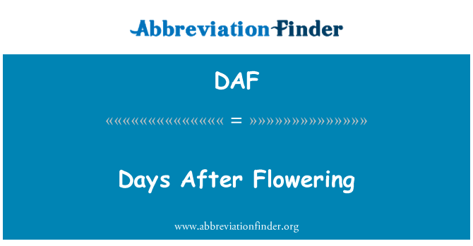 DAF: Days After Flowering