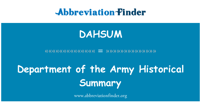 DAHSUM: Department of the Army Historical Summary