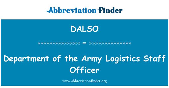DALSO: Departmanı ordusu lojistik personel memuru