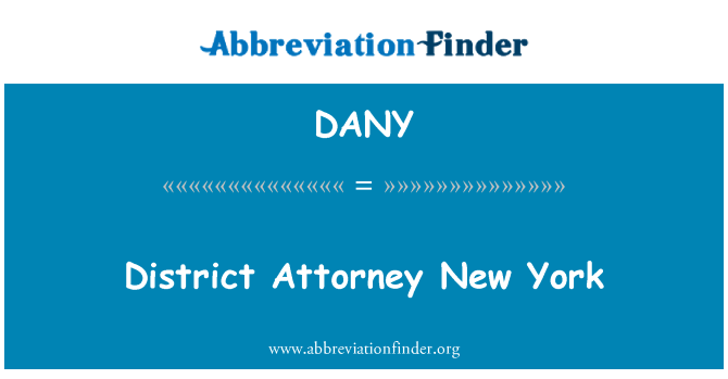 DANY: District Attorney New York