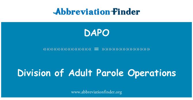 DAPO: División de operaciones de libertad condicional para adultos