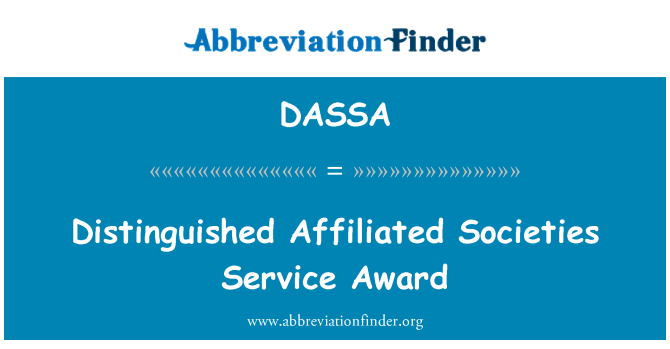 DASSA: Distinguished Affiliated Societies Service Award