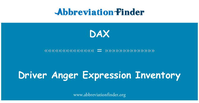 DAX: Driver Anger Expression Inventory