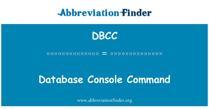 DBCC: Comando de consola de base de datos