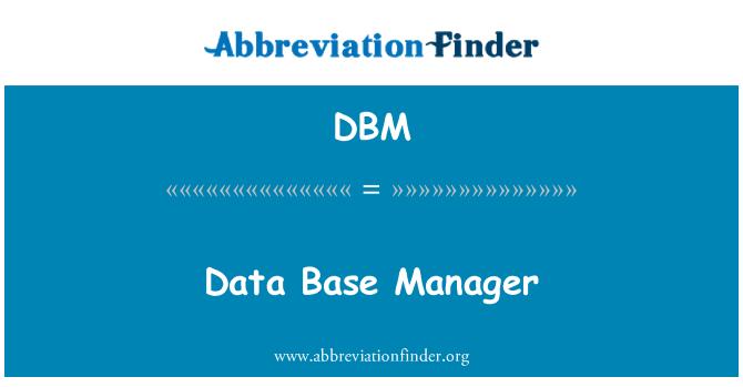 DBM: Data Base Manager