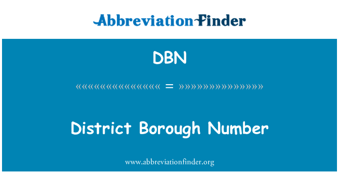 DBN: District Borough Number