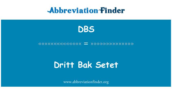 DBS: Dritt Bak Setet